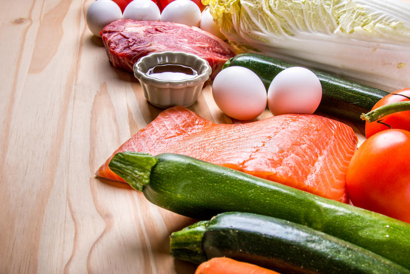 Vissen, vlees en opbrengst stock foto