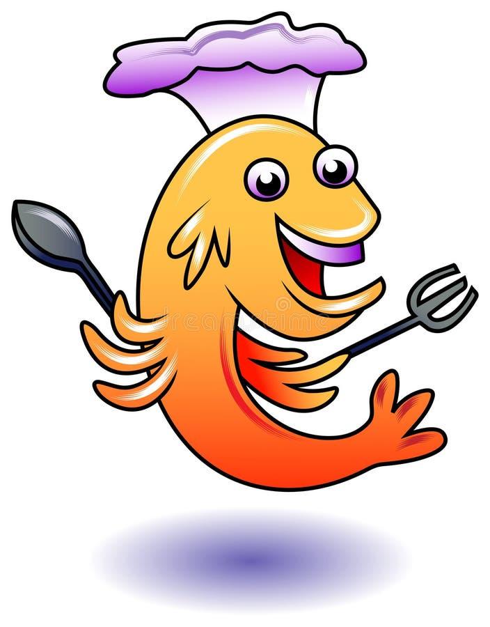 Vissenchef-kok vector illustratie