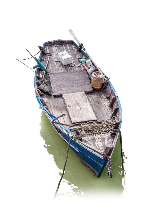 Vissend houten die boot op witte achtergrond met clippi wordt geïsoleerd royalty-vrije stock afbeeldingen