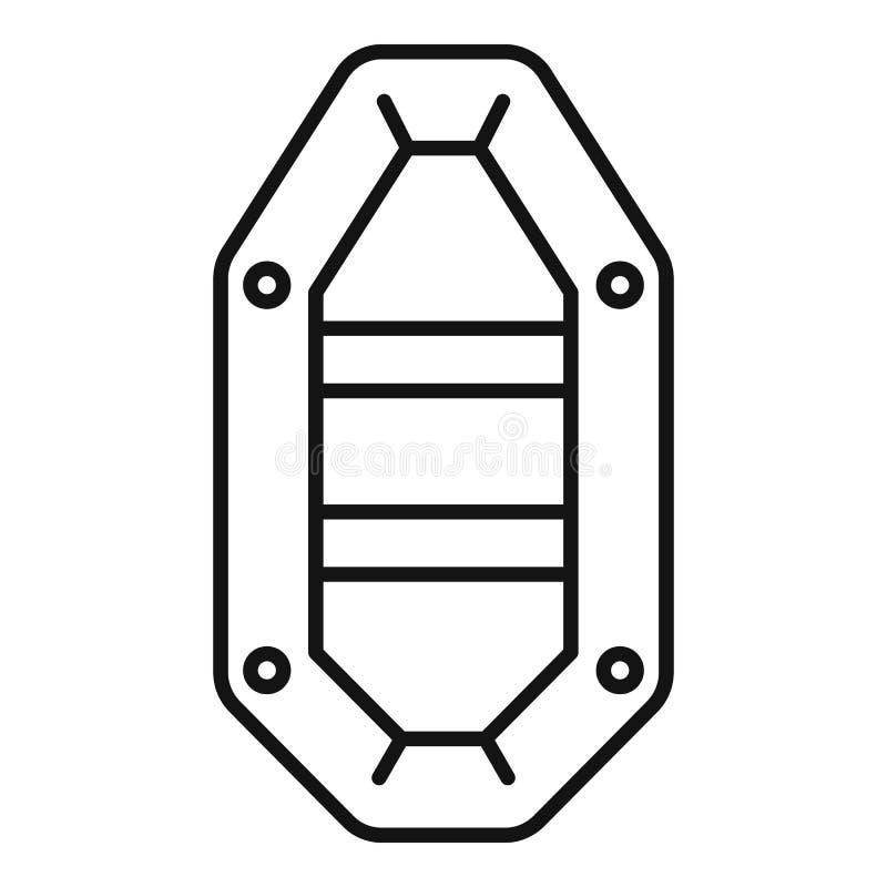 Vissend rubberbootpictogram, overzichtsstijl royalty-vrije illustratie