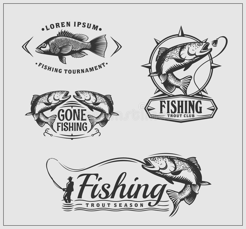 Vissende etiketten en emblemen stock illustratie