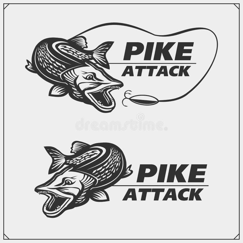 Vissende etiketten en emblemen met een snoek stock illustratie