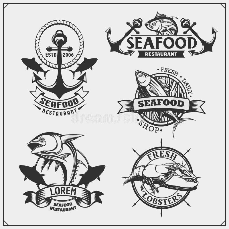 Vissende etiketten, kentekens, emblemen en ontwerpelementen royalty-vrije illustratie