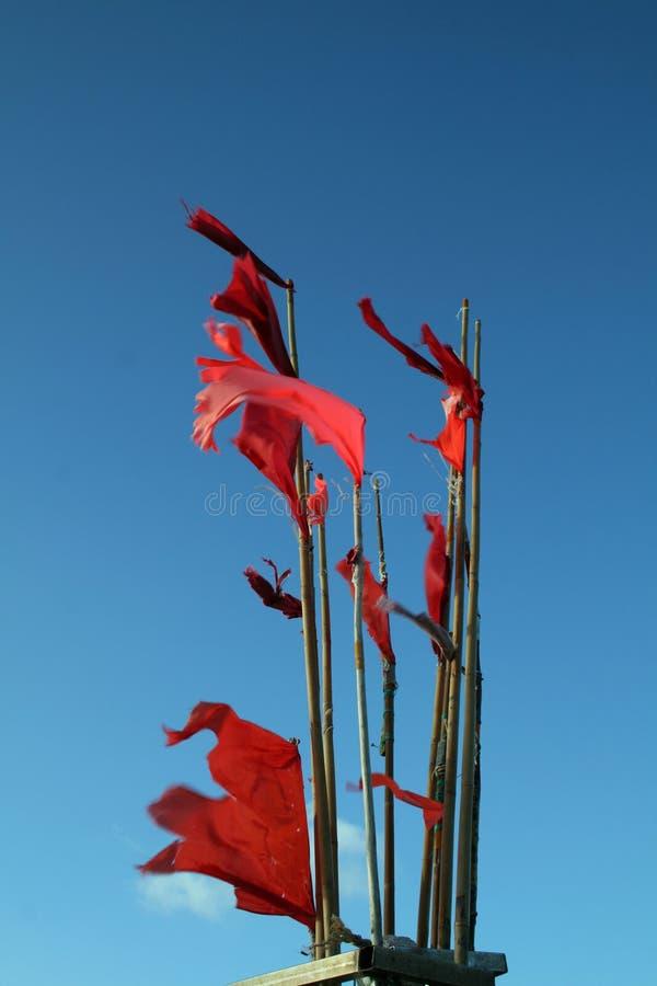 vissende rode vlag royalty-vrije stock afbeelding