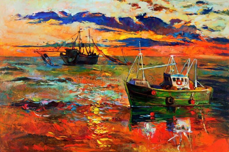 Vissende schepen stock illustratie