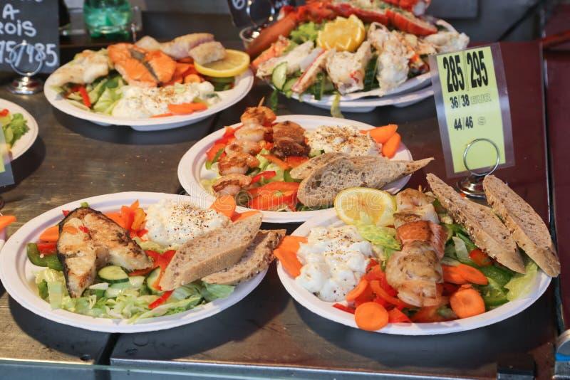 Vissenmarkt Bergen stock afbeelding