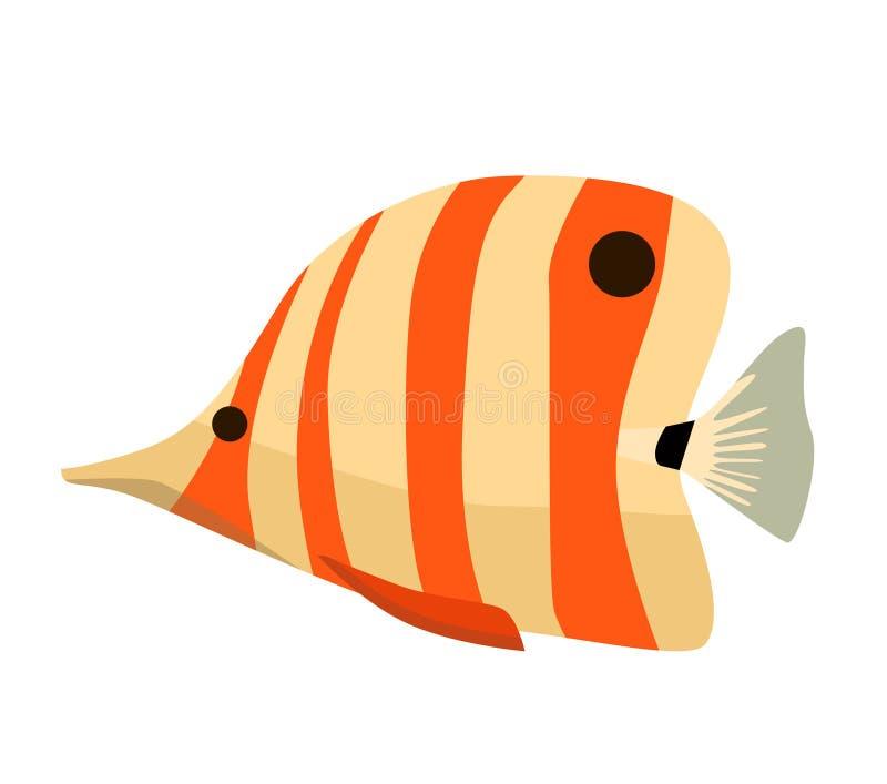Vissenpictogram Vector vlakke illustratie Oceaan of overzeese vissen royalty-vrije illustratie