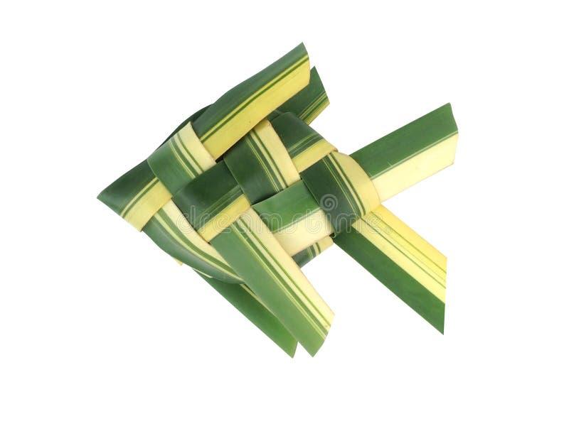 Vissenweefsel van kokosnotenbladeren dat wordt gemaakt stock foto
