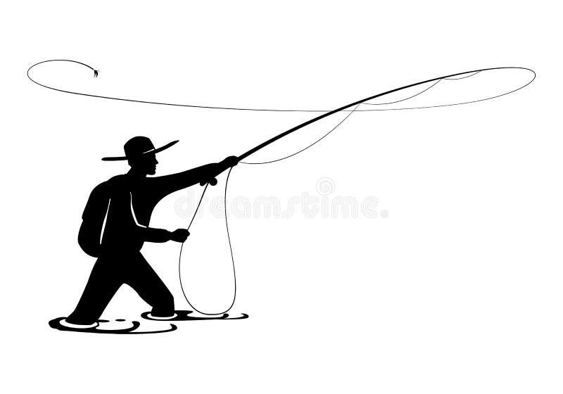 Visser in actie De kerel werpt lepel van vliegstaaf in water en houdt ter beschikking een deel van het stock illustratie