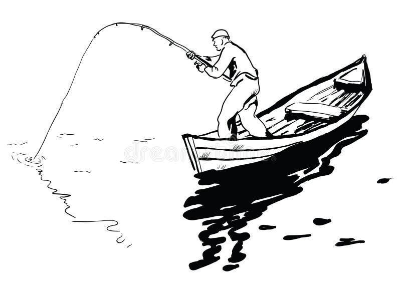 Visser in boot vector illustratie