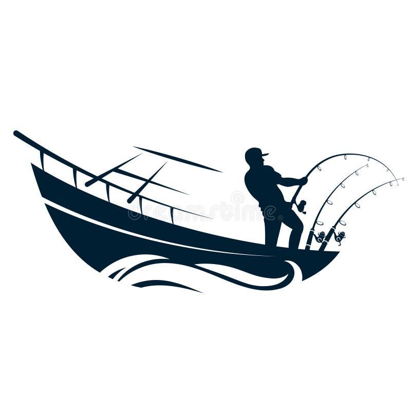 Visser in boot met hengels vector illustratie
