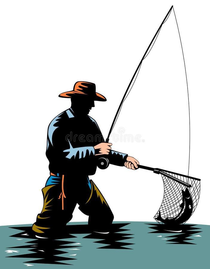 Visser die een forel vangt vector illustratie