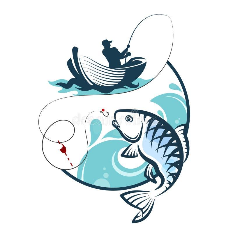 Visser die van een boot vissen stock illustratie