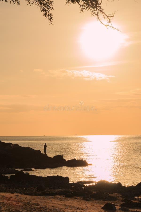 Visser die zich op rots onder zonsonderganglicht bevinden stock afbeelding