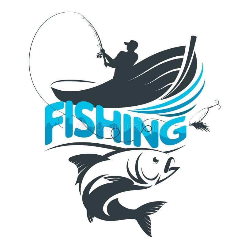 Visser in een boot op een visreis stock illustratie