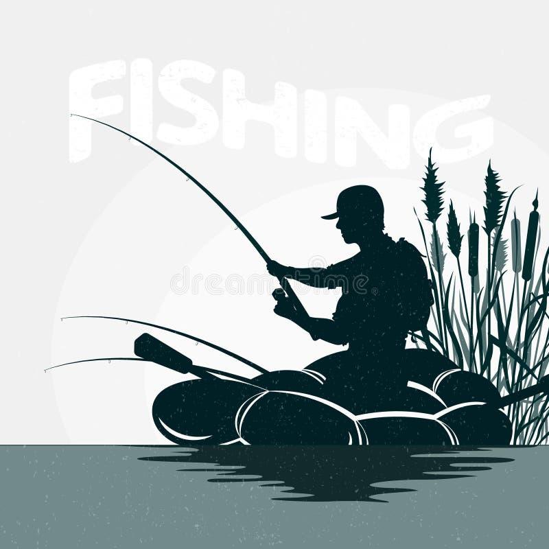 Visser in een boot visserij vector illustratie