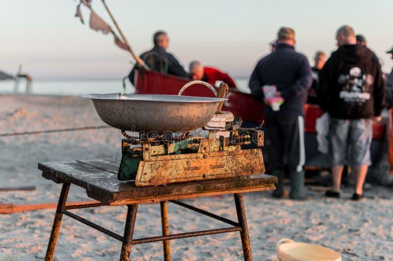 Visser het verkopen vissen rechtstreeks van boot na ochtendvangst stock foto