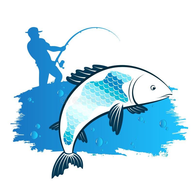 Visser met een hengel en een vis stock illustratie