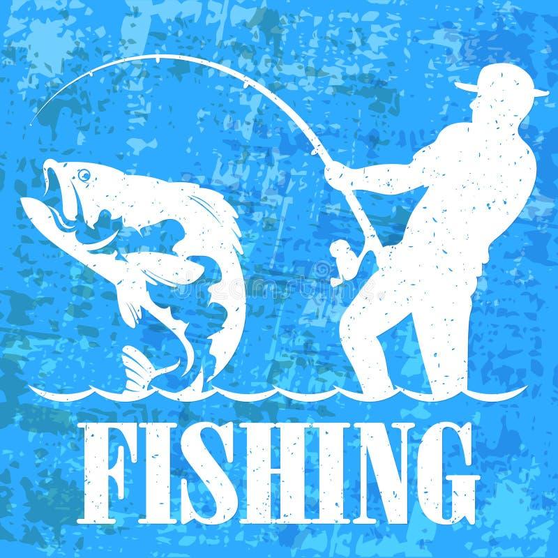 Visser met een hengelbanner vector illustratie