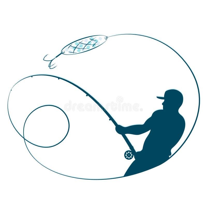 Visser met een hengelsilhouet vector illustratie