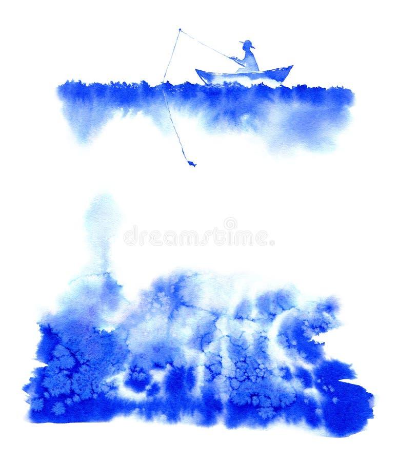 Visser op een boot in het meer royalty-vrije illustratie