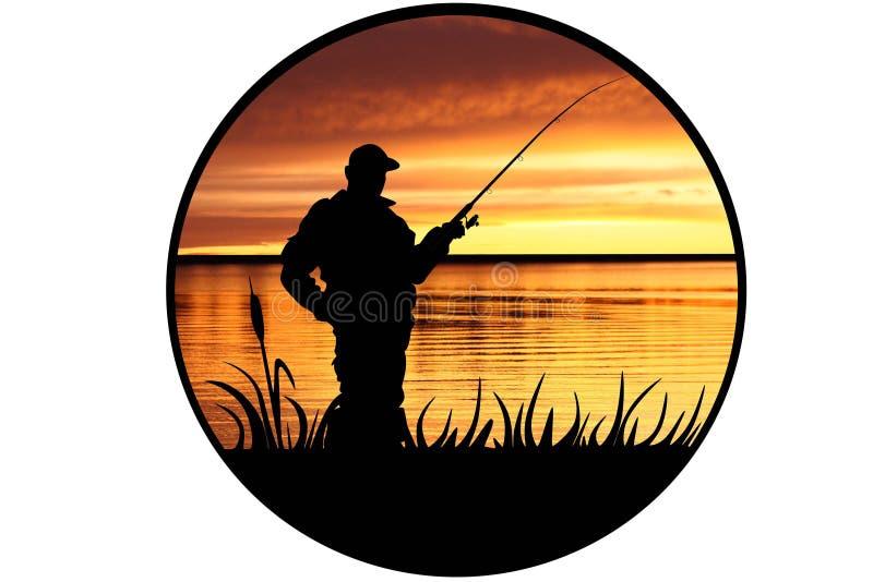 Visser op een rivierkust royalty-vrije illustratie