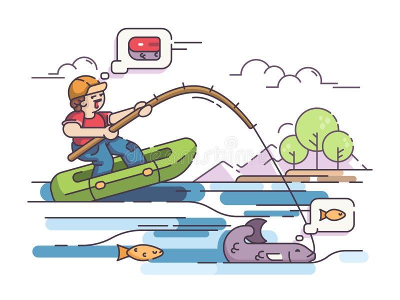 Visser in rubberboot stock illustratie