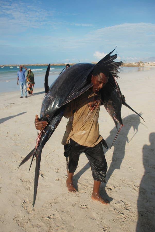 Visser in Somalië stock afbeelding
