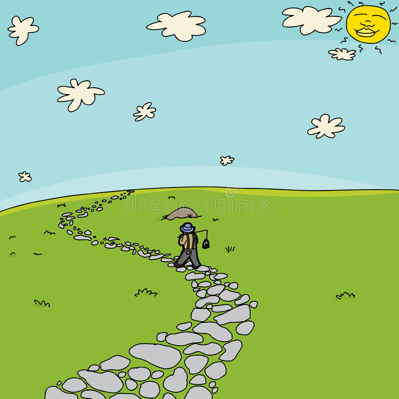 Visser Walking op Weg op Gebied vector illustratie