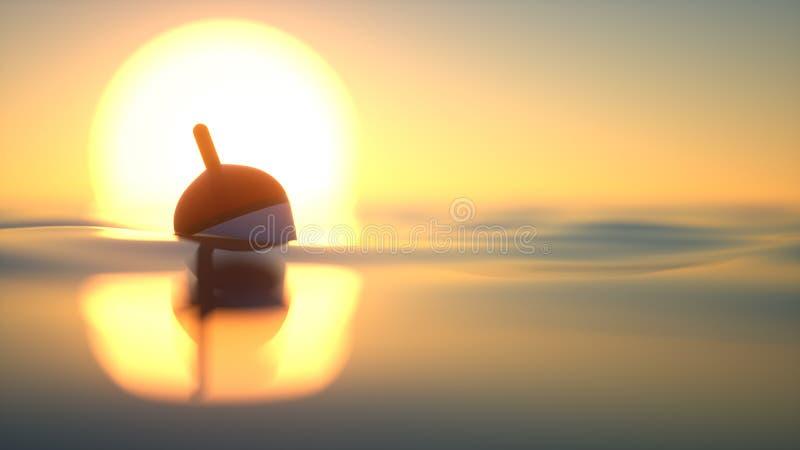 Visserij bobber bij zonsondergang stock foto