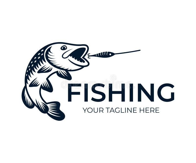 Visserij, de aanval van vissensnoeken wobbler, embleemmalplaatje Zoetwateresox van vissen noordelijke snoeken lucius, pickerel, h stock illustratie
