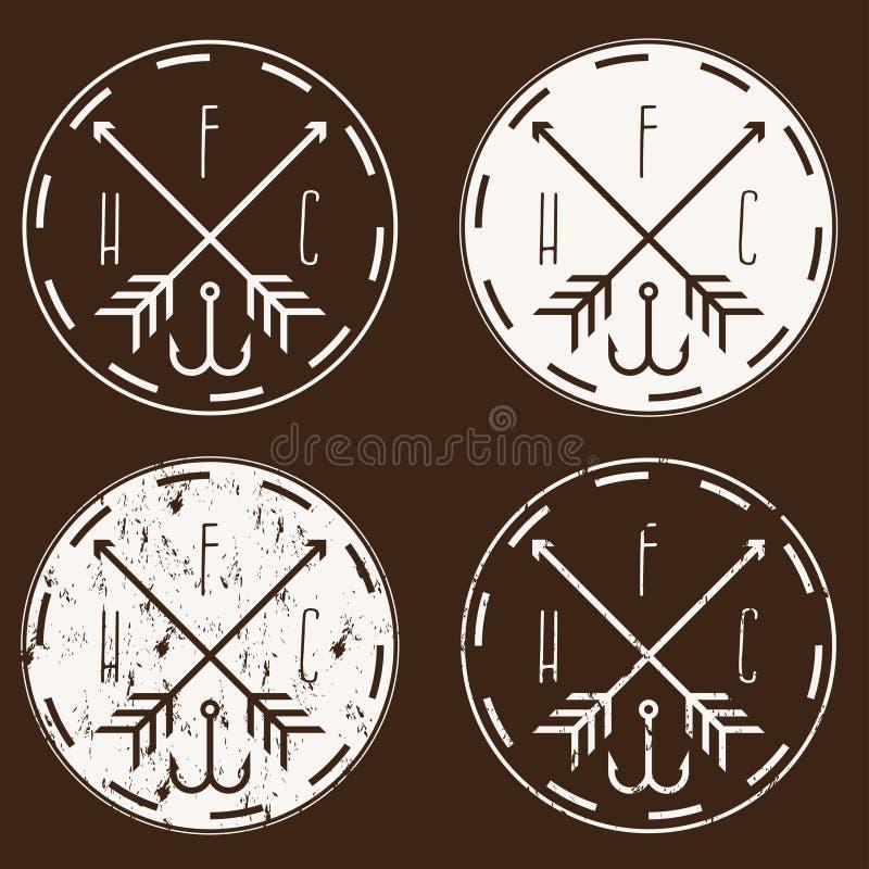 Visserij en de jacht club uitstekende etiketten geplaatst pijlen en haak vector illustratie