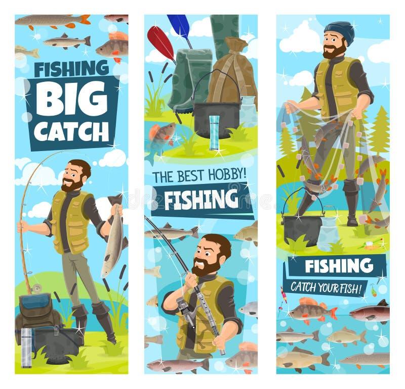 Visserij en de vissenvangst van de vissersmens in netto banners stock illustratie
