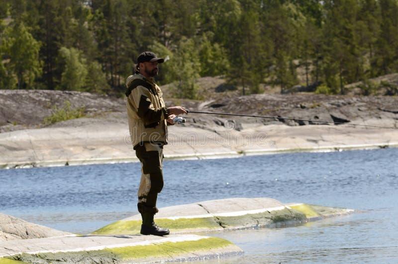 Visserij en recreatie in Karelië stock afbeelding