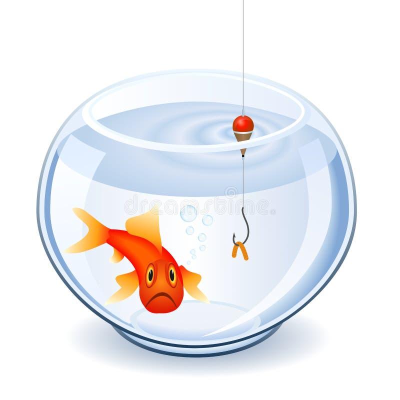 Visserij in fishbowl vector illustratie