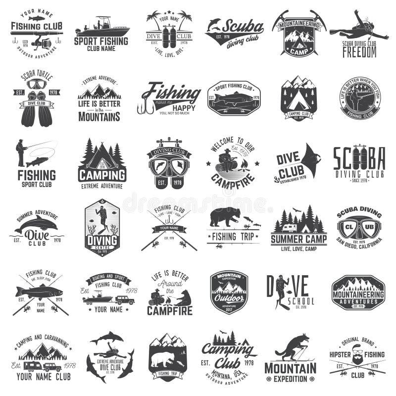 Visserij, het kamperen en het duiken club met ontwerpelementen stock illustratie