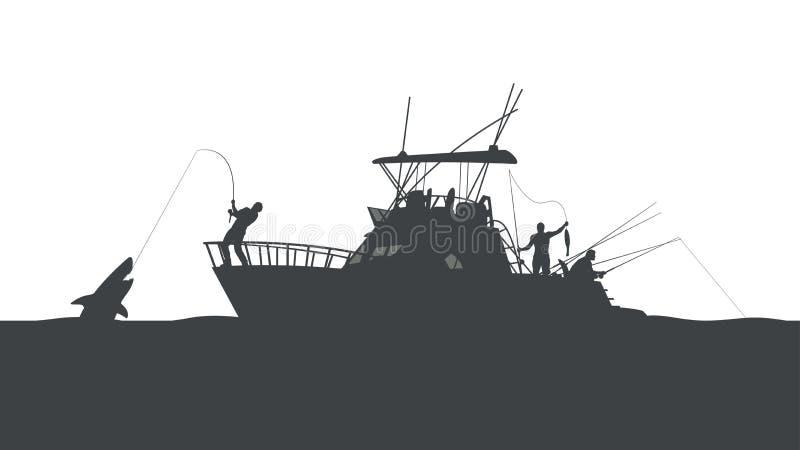 Visserij in oceaan royalty-vrije illustratie