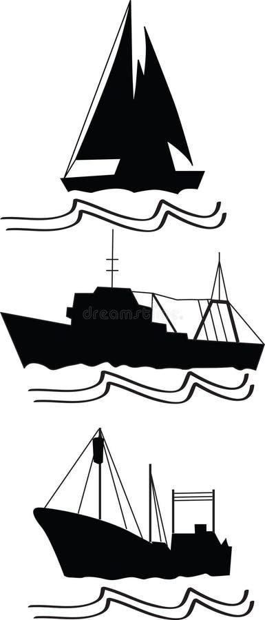 Visserij, treilers en schip royalty-vrije illustratie
