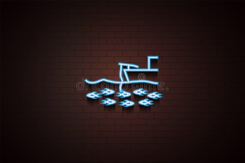 visserij van het schippictogram in Neon royalty-vrije illustratie