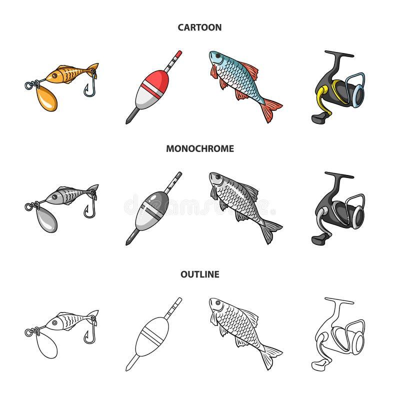 Visserij, vissen, vangst, haak De visserij van vastgestelde inzamelingspictogrammen in beeldverhaal, overzicht, de zwart-wit voor royalty-vrije illustratie
