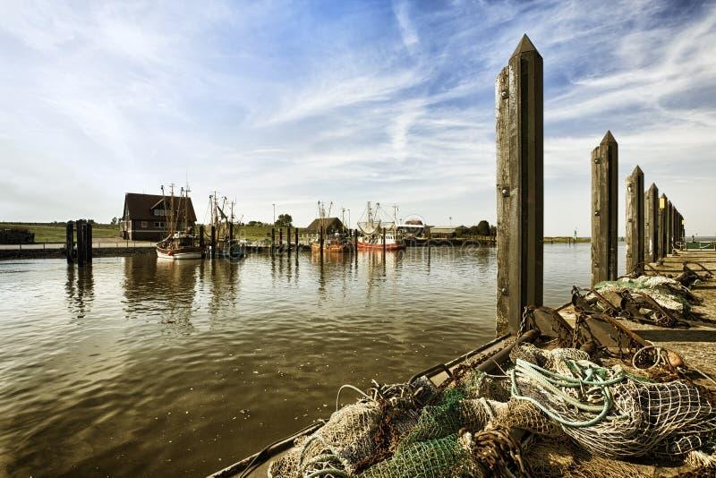 Visserijhaven van Fedderwardersiel stock afbeeldingen