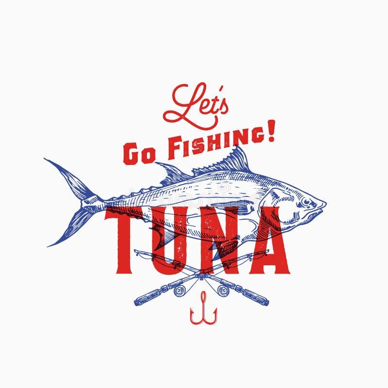 Visserijtonijn Abstract Vectorteken, Symbool of Logo Template Hand Getrokken Tuna Fish en Hengels met Retro Typografie stock illustratie