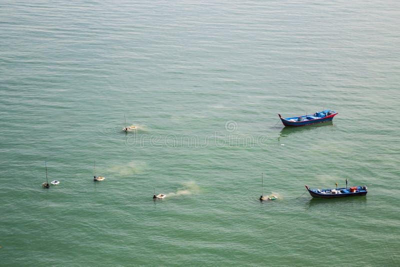 Vissers die schaaldieren en vissen van het overzees met netto oogsten royalty-vrije stock foto