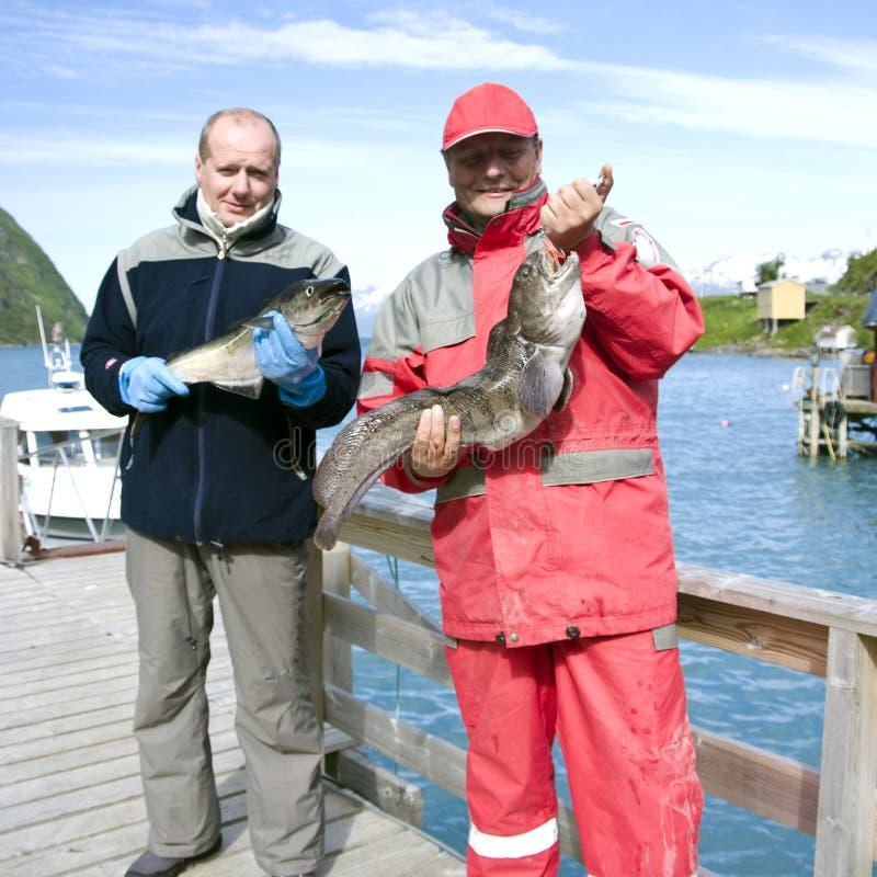 Vissers die vissen houden stock afbeelding