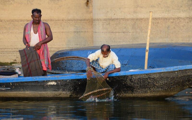 Vissers in India stock afbeeldingen