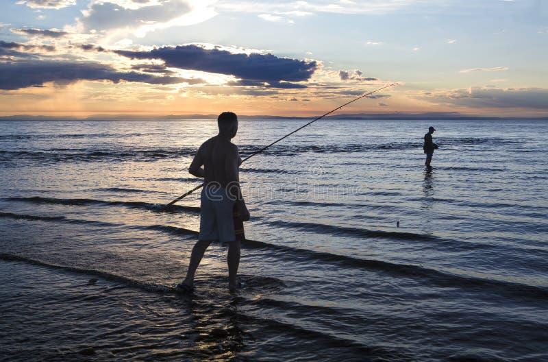 vissers op meer Baikal royalty-vrije stock foto