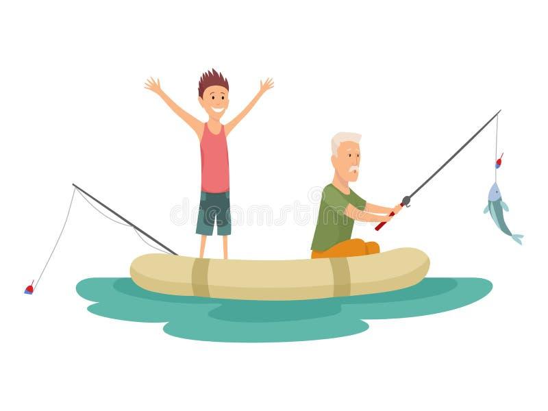 Vissers platte iconen Vissen met vectorbestanden van vis en apparatuur Visserijuitrusting, vrijetijdsbesteding en hobbyvis royalty-vrije illustratie