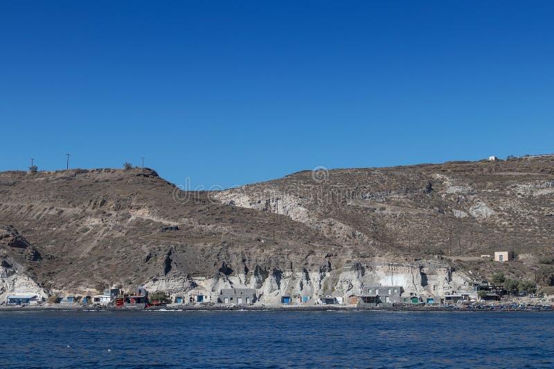 Vissers` s dorp in Santorini, Griekenland royalty-vrije stock foto