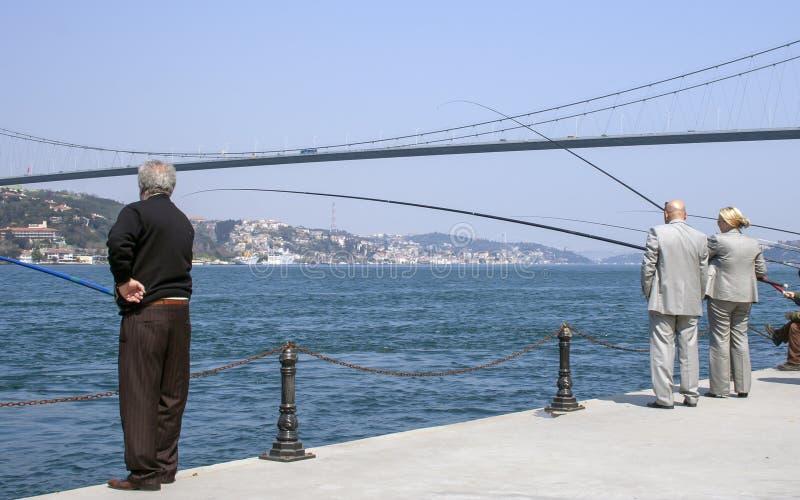 Vissers van Bosphorus, Istanboel royalty-vrije stock foto