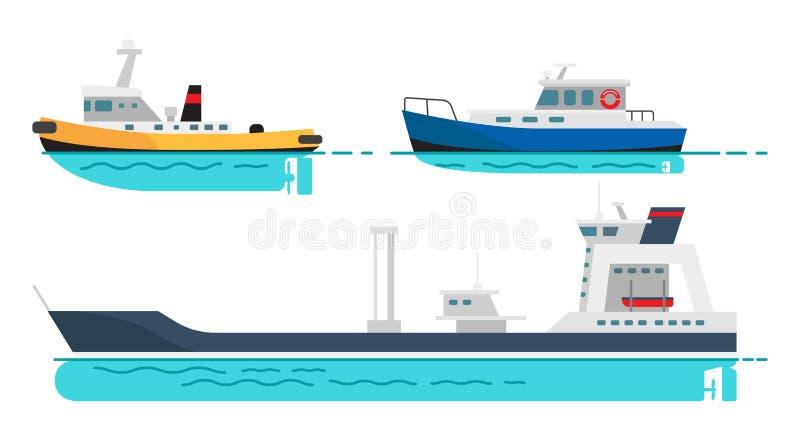 Vissersboot, Kleine Stoomboot en Groot Vrachtschip vector illustratie